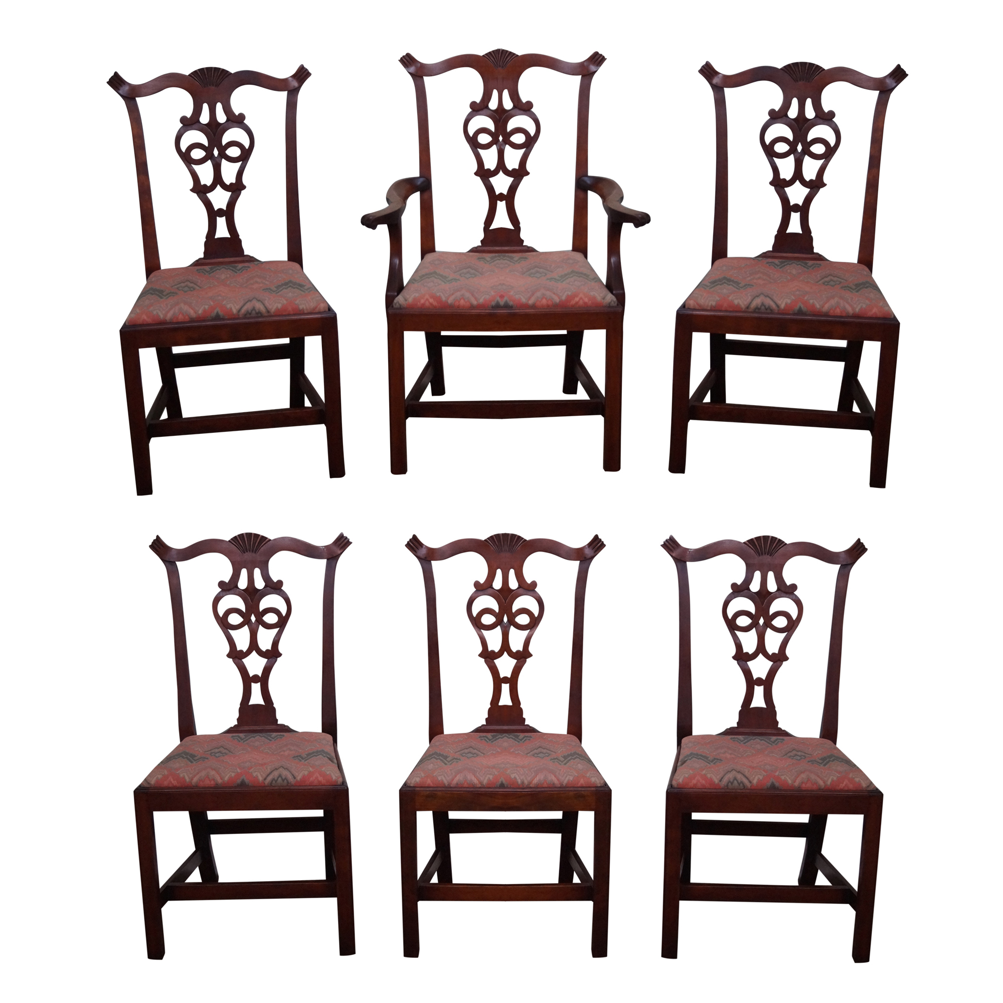 Eldred Wheeler Chippendale Cherry Dining Chairs   Set Of 6