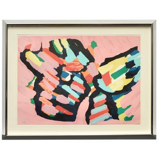 "Karel Appel ""Lying in Color 'Pink Cat'"" 1979, Signed, Framed in Chrome For Sale"
