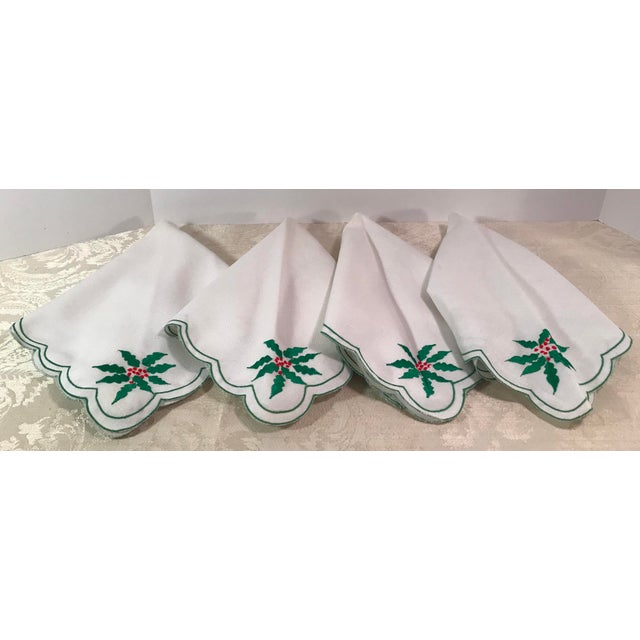 Fabric Vintage Holiday Poinsettia Napkins - Set of 4 For Sale - Image 7 of 7