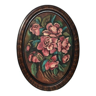 Vintage Oval Floral Painting