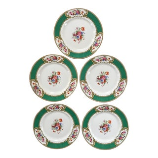 Made in England-Early 20th Century Antique Myotts Royal Crown Staffordshire China Plates - Set of 5 For Sale
