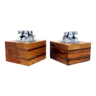 Italian Wood Table Lighters - a Pair For Sale