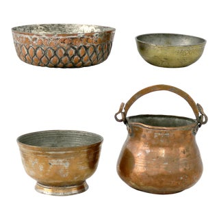 Antique Hand-forged Turkish Copper and Brass Bowls - Set of 4 For Sale