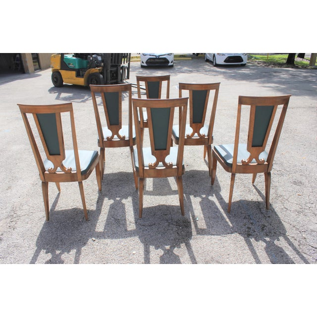 Jules Leleu 1940s French Art Deco Solid Mahogany Dining Chairs by Jules Leleu - Set of 6 For Sale - Image 4 of 13