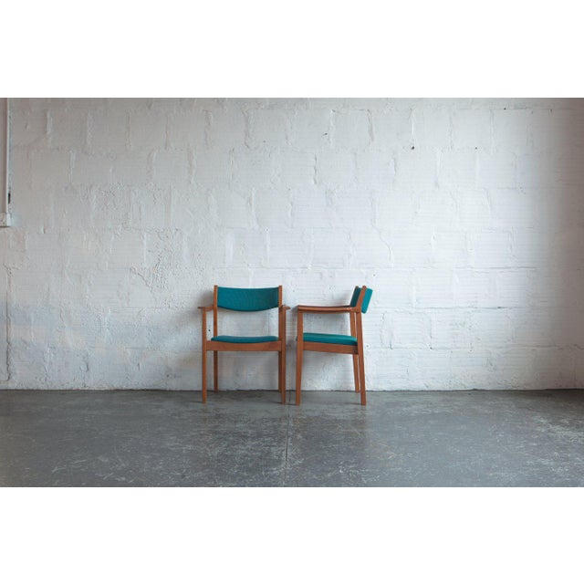 1960s Mid-Century Modern Teal Armchairs - Set of 6 For Sale - Image 4 of 8