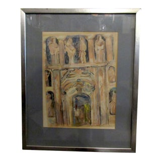 Watercolor Painting in Chrome Frame For Sale