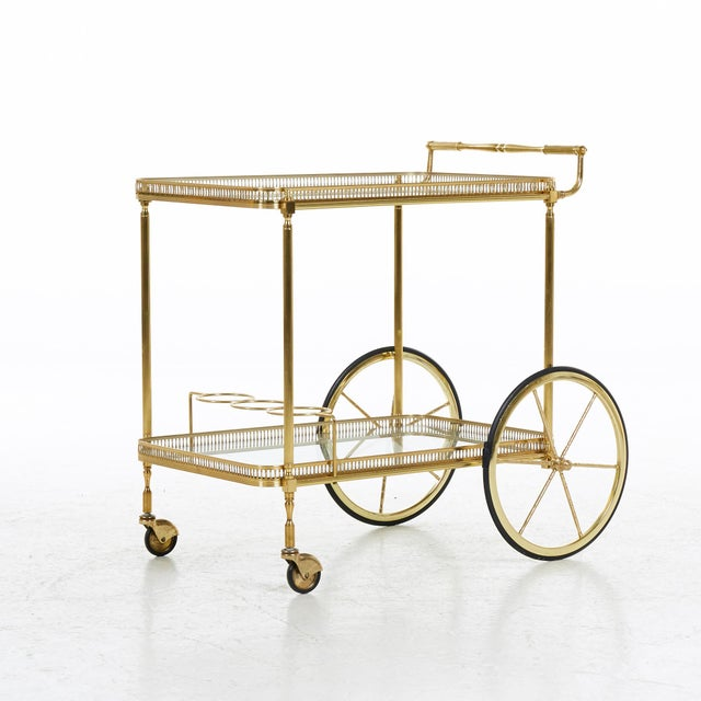 Bar/cocktail cart, bar cart, Denmark, 1960s, brass and glass. Free shipping. Measures: H 32 in. x W 29.5 in. x D 18.5 in....
