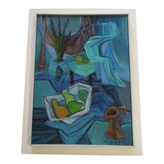 Winn Kreisler Mid Century Painting Abstract Expressionism Cubism Cubist Vintage For Sale