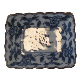 Chinese Export Trinket Dish in Blue and White For Sale