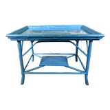 Image of Turquoise Blue Bamboo Rattan Table For Sale
