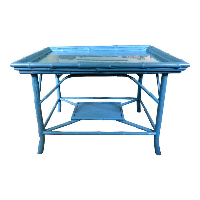 Turquoise Blue Bamboo Rattan Table For Sale