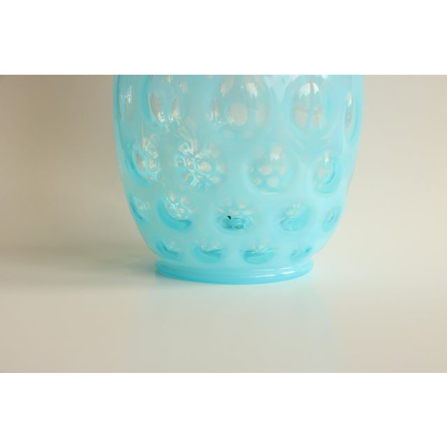 Blue Opalescent Coin Dot Art Glass Vase - Image 6 of 8