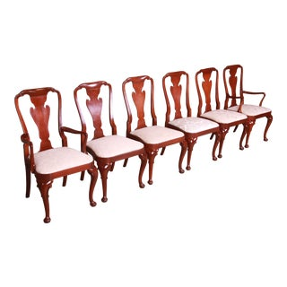 Baker Furniture Queen Anne Carved Mahogany Dining Chairs, Set of Six For Sale
