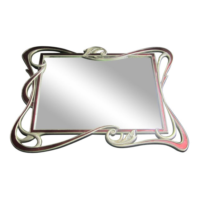 Mirrored Art Nouveau Style Enamel Tray For Sale