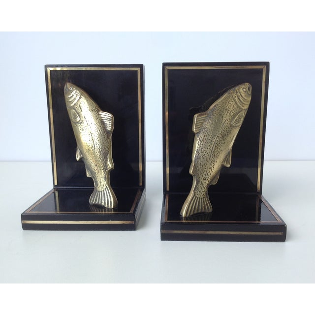 1950s Brass Trout Fish & Wood Bookends - A Pair For Sale - Image 5 of 11