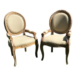 Louis XVI Round Back Carved Wood Dining Chairs - a Pair
