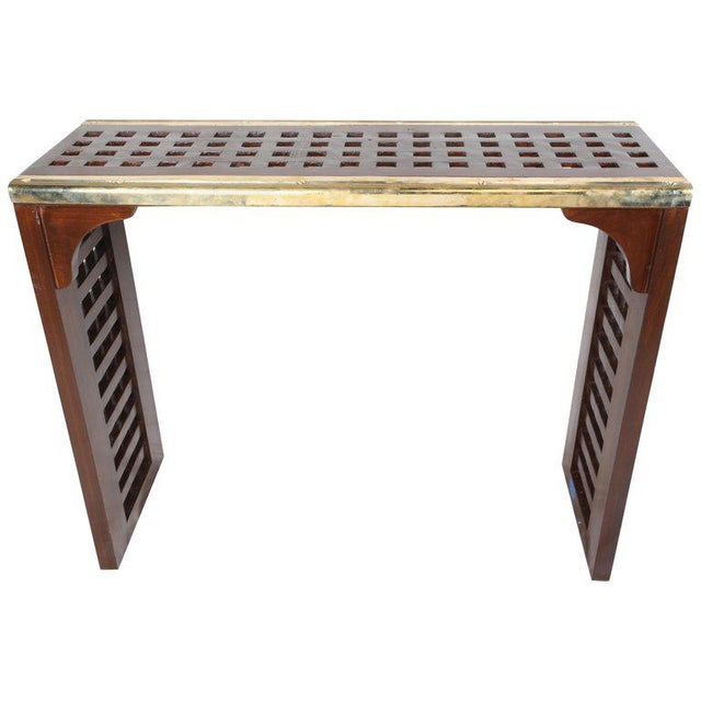 Ship's Teak Decking Converted to Console Table With Brass Border For Sale - Image 10 of 10