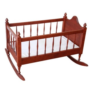 Vintage Amish Made Solid Cherry Wood Baby Bassinet For Sale