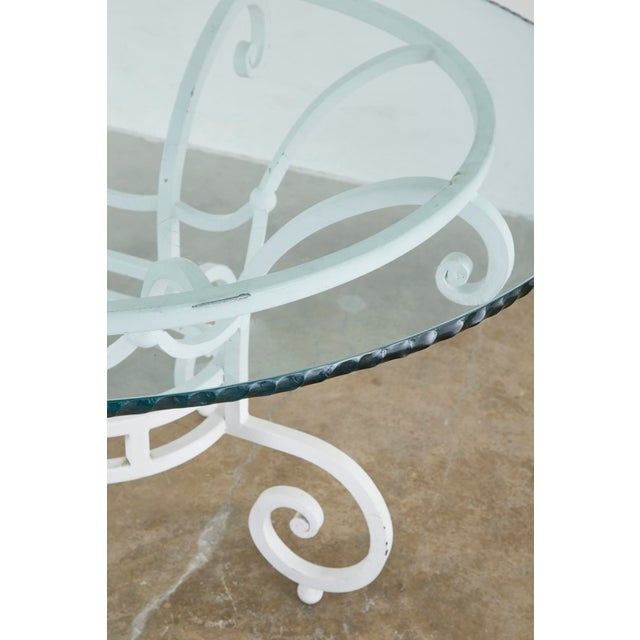 Oval Wrought Iron Painted Garden Dining Table For Sale - Image 10 of 13