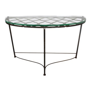 Iron Demilune Table Made From Antique French Decorative Element For Sale