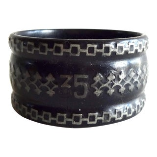 Late 19th Century French Black Papier Mache Napkin Ring With Pewter Inlay For Sale