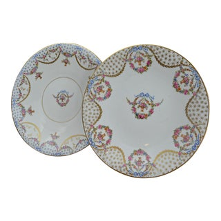 Antique Mis-Matched Floral Sevres Style Plates-A Pair For Sale