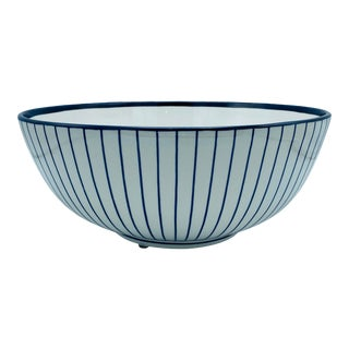 Chelsea House Blue and White Striped Bowl For Sale