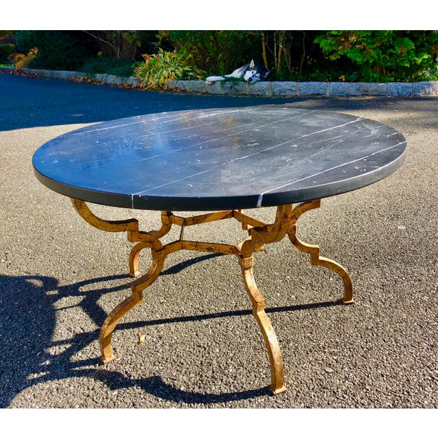 White 1960s Vintage French Hollywood Regency Gilt Wrought Iron Marble Top Coffee Table For Sale - Image 8 of 12