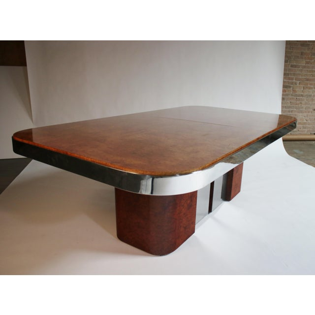 Silver Burl Wood and Steel Dining Table For Sale - Image 8 of 10