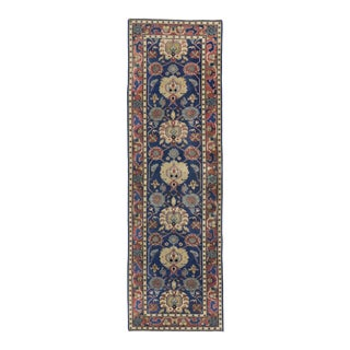 Antique Indian Agra Runner in Blue with Modern Design For Sale