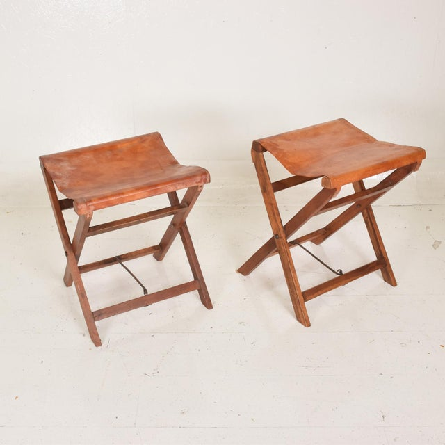 Antique Decorative Leather & Mahogany Folding Wood Stools - a Pair For Sale In San Diego - Image 6 of 7