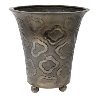 Vintage Embossed Cheetah Pattern Metal Cachepot For Sale