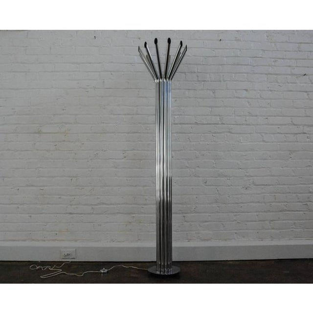 Circa 1970 A stunning futuristic floor lamp attributed to George Kovacs. The lamp was a chrome on/off floor switch and is...