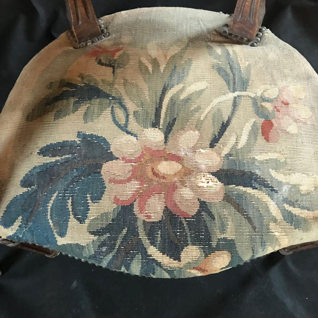 Period French Walnut Louis XVI Antique Carved Tapestry Fauteuils - a Pair For Sale In Portland, ME - Image 6 of 9