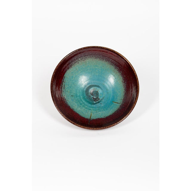 Beautiful glazed stoneware dish by Edouard Chapallaz, certainly between 1955-65. Good condition. Diameter : 28cm Hight :...