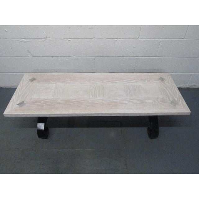 Mid-Century Modern Cerused Oak Coffee Table with Wrought Iron Base For Sale - Image 3 of 9