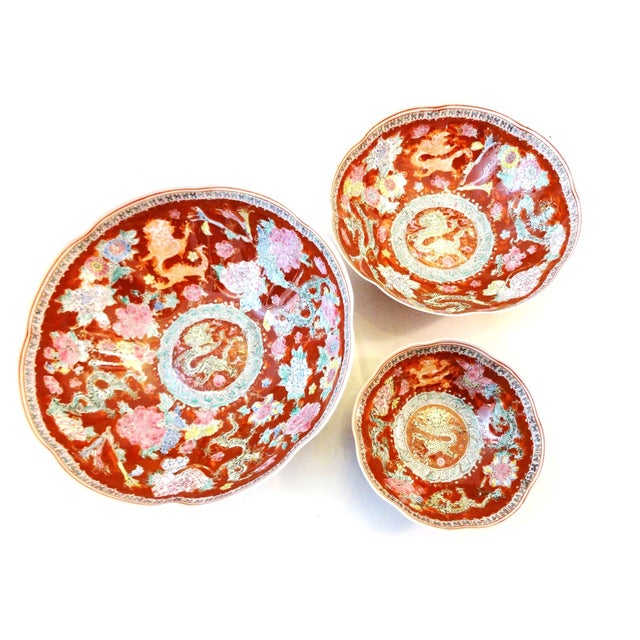 "Superb set of three eggshell porcelain nesting bowls. Eggshell porcelain is popularly described, ""as white as jade, as..."