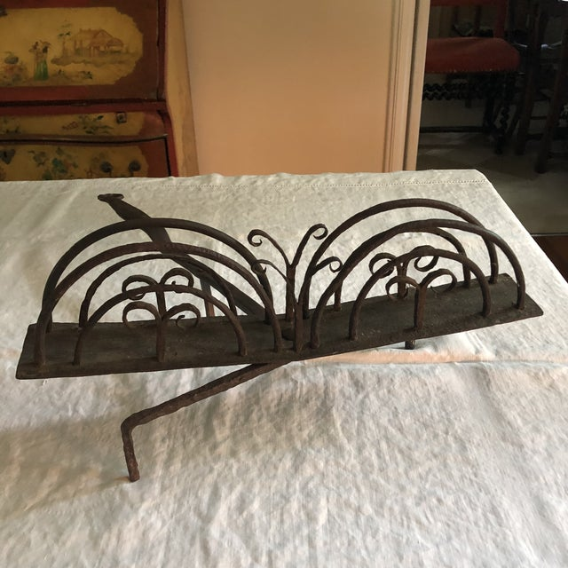 Black 18th Century American Colonial Hand Forged Wrought Iron Rotary Bread Toaster For Sale - Image 8 of 13
