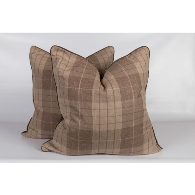 Plaid & Velvet Whittington Pillows - A Pair For Sale - Image 5 of 5
