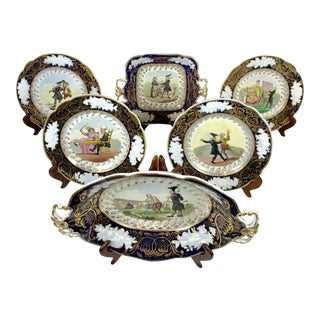 1820s Antique Hand Painted New Hall China Story Plates - Set of 6 For Sale