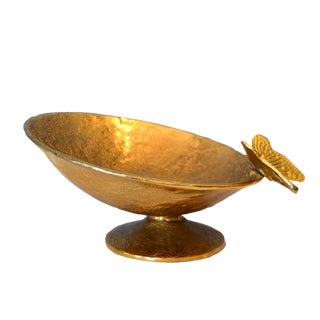 Bronze Footed Bowl With Butterfly For Sale