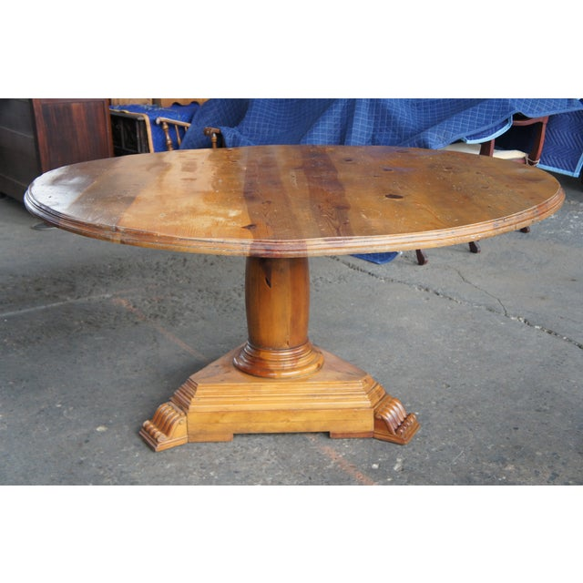 2000 - 2009 Rustic Ralph Lauren Distressed Pine Pedestal Table For Sale - Image 5 of 13
