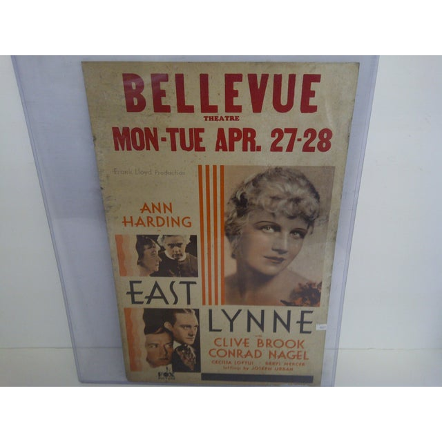 """Early American Bellvue Theatre Poster, """"East Lynne,"""" 1931 For Sale - Image 3 of 8"""