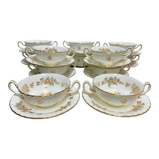 Early 20th Century Minton China White and Gold Soup Bowls Plates - 24 Pieces For Sale