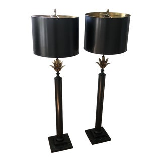 Robert Abbey Brass Floor Lamps with Shades - a Pair For Sale