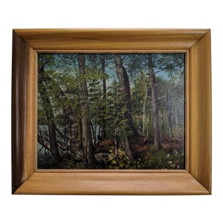 Vintage Oil Landscape of Forest and Lake With Maple Wood Frame For Sale