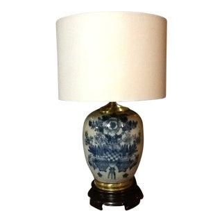 Antique Chinese Blue & White Porcelain Jar Lamp For Sale