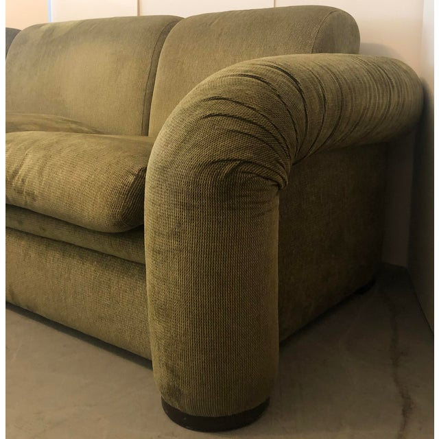 Mid-Century Modern Olive Green 3 Piece Sectional From 80s For Sale - Image 3 of 13