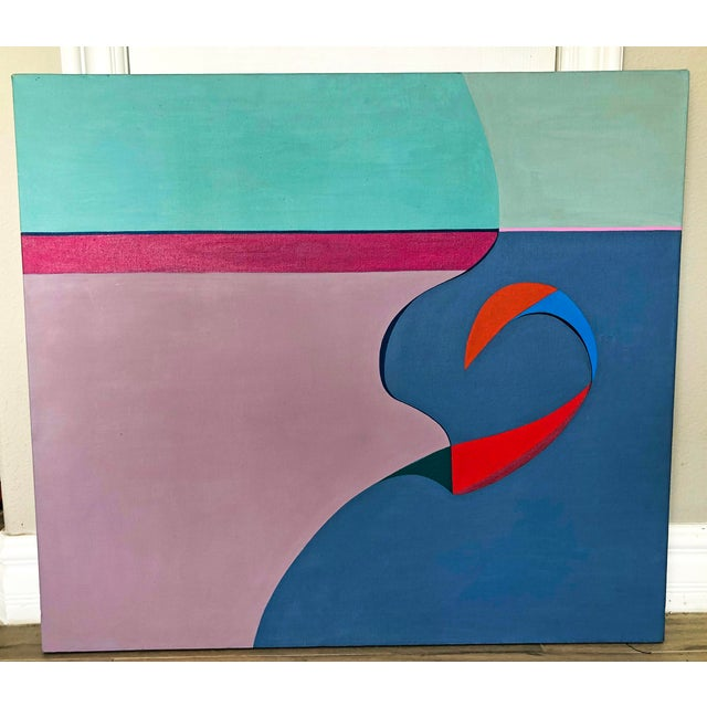 """1980s Acrylic on Canvas, """"No Man's Island"""", Betty Usdan-Zwickler, 1982 For Sale - Image 5 of 5"""