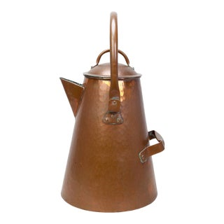 Oversized American Craftsman 'Cowboy Style' Copper Coffee Pot For Sale
